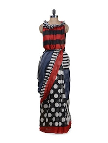 Designer Black & Navy Polka Saree - Awesome