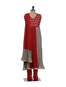 Stylish Orange & Grey Stitched Georgette Suit - Awesome
