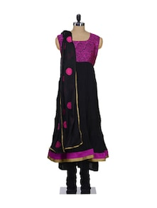 Ethnic Black & Pink Stitched Suit - Awesome