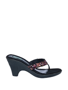 Black Block Heel Sandals With Pink Sequin Work - CATWALK