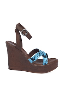 Brown Wedges With Blue Animal Print Straps - CATWALK
