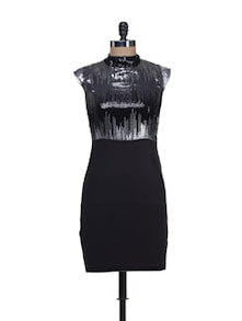Black & Silver Embellished Bodycon Dress - Reen's