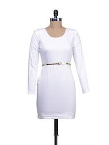 Elegant White Short Dress - Reen's