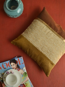 Elegant Brown Silk Cushion Cover - KIWAAD