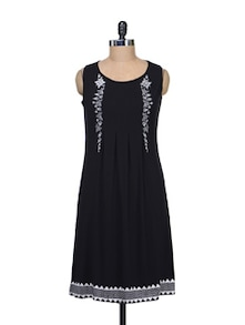 Simple Black Dress With Delicate Embroidery - Global Desi