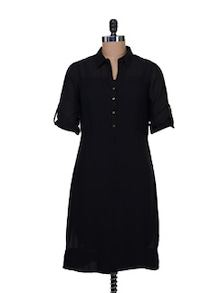 Shirt Style Dress In Solid Black - AND