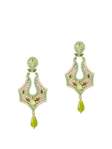 Delightful Pearl Embellished Earrings In Green - Bazarvilla