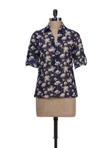 Floral Navy Top - Thegudlook