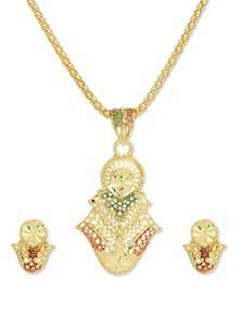 Stylish Gold Pendant Set - Vendee Fashion