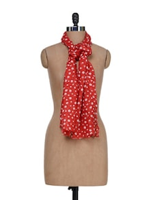 Polka Dotted Red Scarf - J STYLE