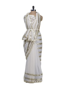 White Beauty Bollywood Saree - Purple Oyster