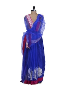 Divine Blue Bollywood Saree - Purple Oyster