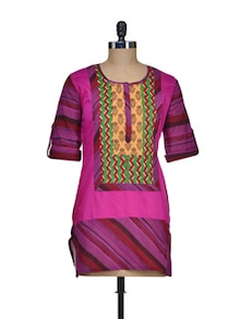 Printed Purple Cotton Kurti - ASEESA
