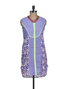 Printed Kurti In Floral Blue - ASEESA
