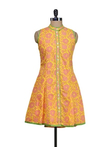 Printed Floral Kurti In Pink-Yellow - ASEESA