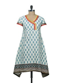 Elegant White & Green Printed Kurta - Free Living