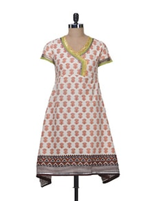 Elegant White & Orange Printed Kurta - Free Living