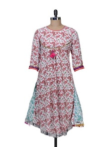 White & Red Printed Flared Kurta - Free Living