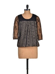 Black And Beige Lace Top - Color Cocktail