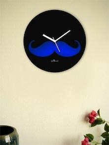 Blue And Black Moustache Wall Clock - Zeeshaan