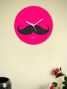 Black And Pink Moustache Wall Clock - Zeeshaan