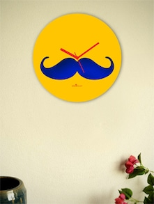 Blue And Yellow Moustache Wall Clock - Zeeshaan
