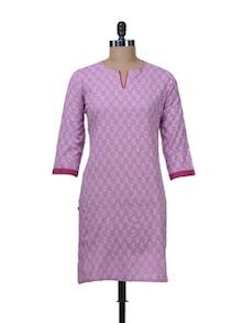 Prettylicious Pink Printed Cotton Kurta - Nanni Creations