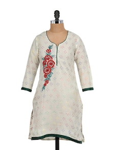 Elegant White Embroidered Kurta - Vani