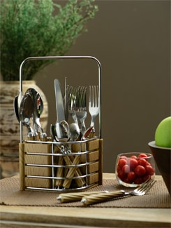 Chrome Cutlery Set (6 Dinner Spoons, 6 Dinner Forks, 6 Dinner Knives, 6 Tea Spoons, 1 Stand) - Freelance