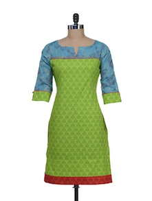 Printed Green Kurta With Turquoise Sleeves - Morpunc