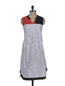 Monochrome Printed Kurta With A Dash Of Red - morpunc