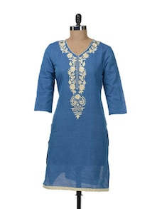 Chic Blue & Beige Embroidered Kurta - Paislei