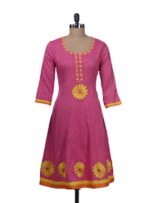 Pink & Yellow Embroidered Kurta - Paislei