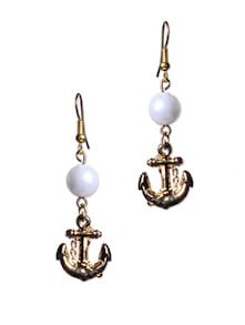 Pearl Anchor Drop Earrings - Blend Fashion Accessories