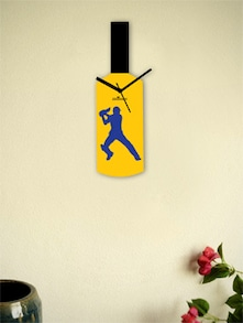 Blue And Yellow Cricketer's Bat Wall Clock - Zeeshaan