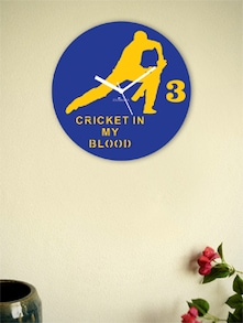Blue And Yellow Cricket's Front Foot Wall Clock - Zeeshaan