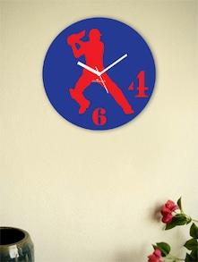 Blue And Red Batsman Wall Clock - Zeeshaan