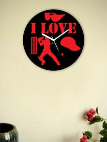 Black And Red I Love The Game Wall Clock - Zeeshaan