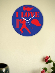 Blue And Red I Love The Game Wall Clock - Zeeshaan