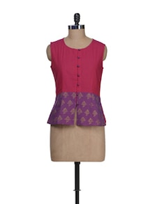 Ethnic Pink & Purple Colorblocked Top - 9rasa