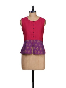 Ethnic Pink & Purple Colorblocked Top - 9rasa
