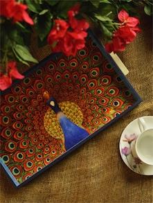 Blue & Orange Rectangular Tray - Small - ART N LIGHT
