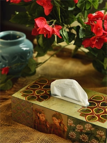 Beige & Green Rectangular Tissue Box - ART N LIGHT