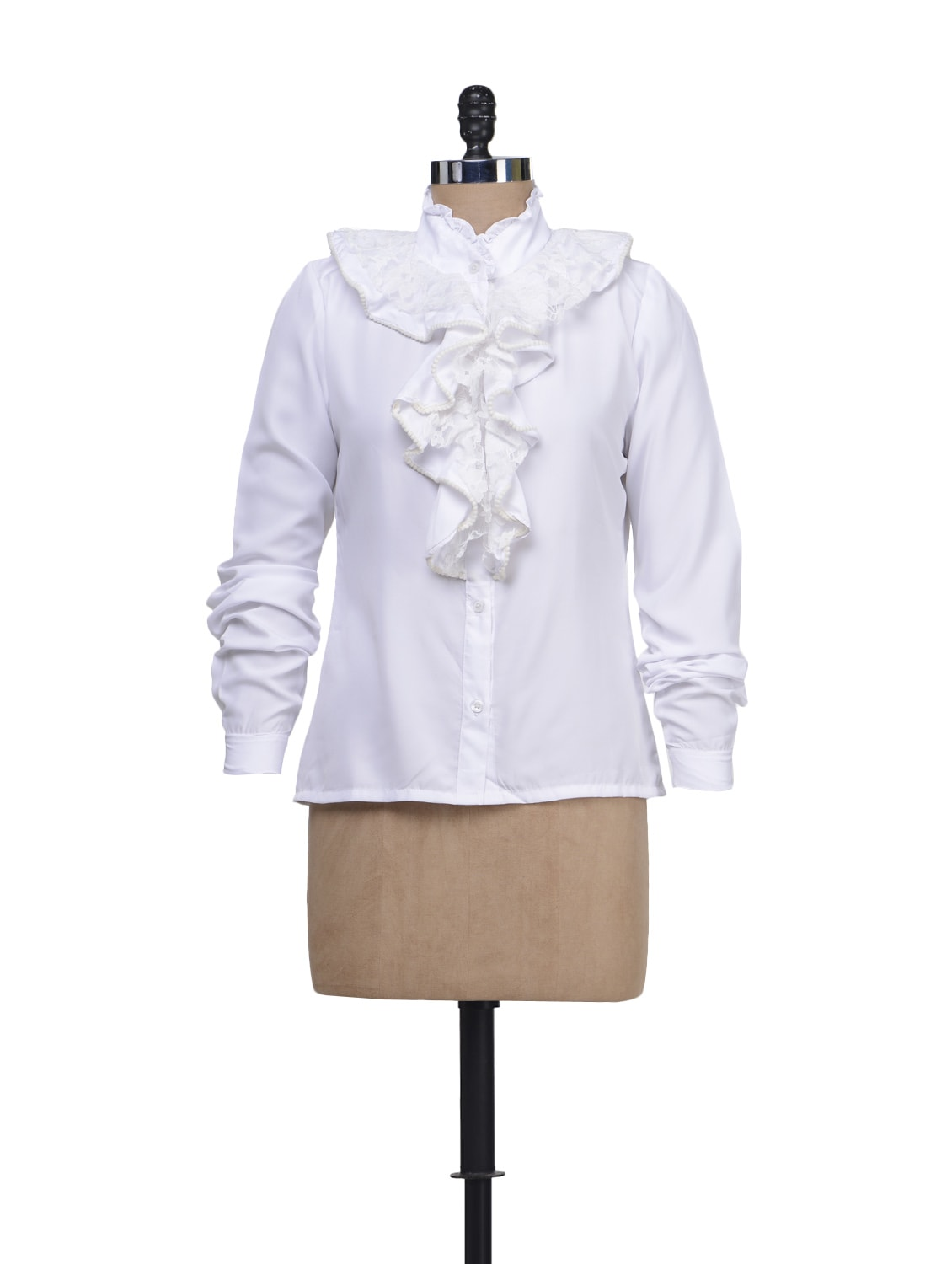 Solid White Shirt With Ruffled Neckline - Liebemode