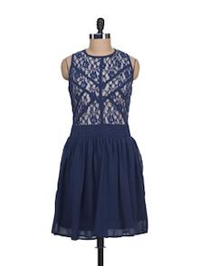 Lace Navy Blue Dress - Liebemode
