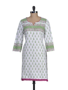 White & Green Printed Cotton Kurta - RIYA