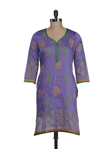Purple Chanderi Block Printed Kurta - RIYA