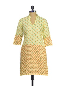 Elegant Beige & Orange Printed Kurta - RIYA