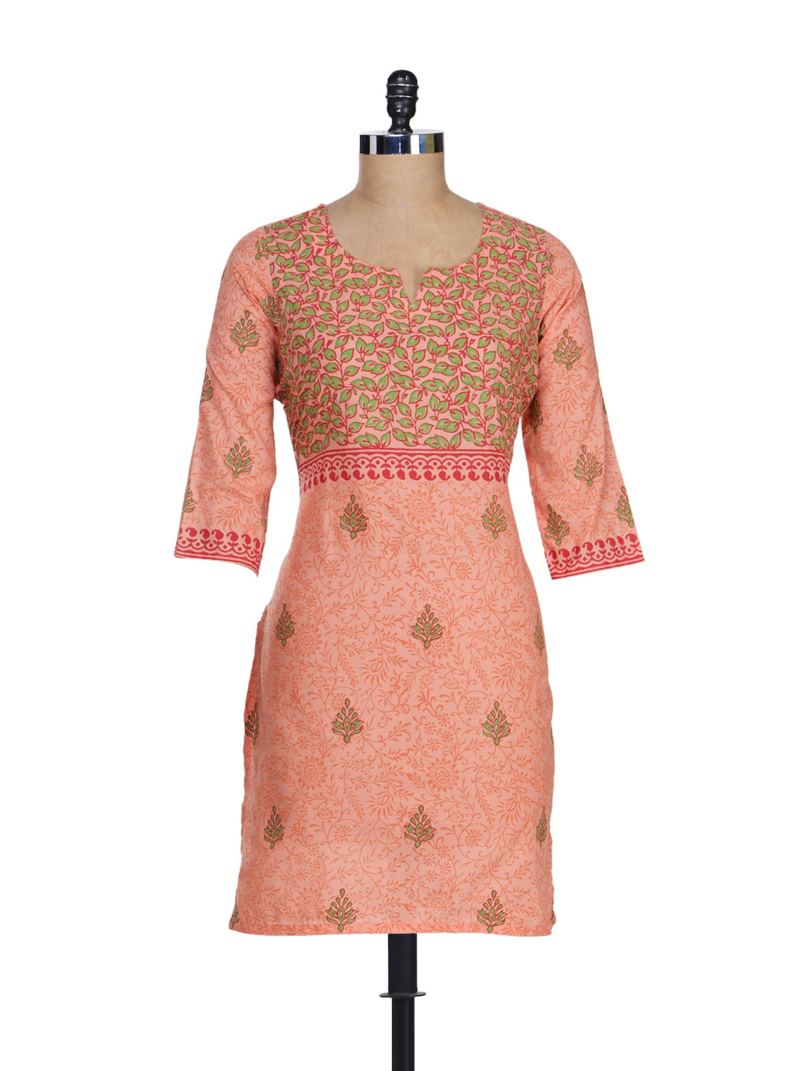 Pretty Peach Printed Kurta - RIYA