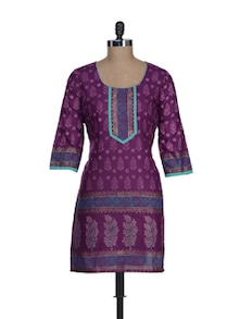 Deep Purple Printed Kurta - RIYA